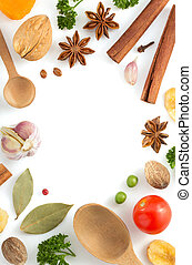 herbs and spices on white - herbs and spices isolated on...