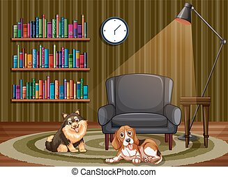 Dogs and living room