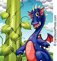 Dragon - illustration of a dragon and a beanstalk
