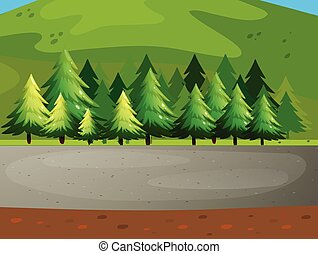 Pine trees - illustration of a national park