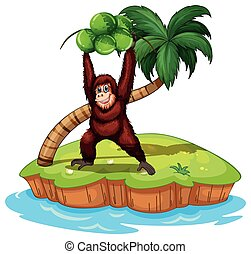 Orangutan - illustration of an orangutan standing on an...