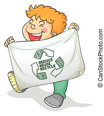Recycle - illustration of a boy with recycling sign
