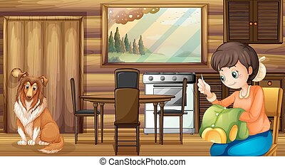 Dog and house housewife indoors - Illustration of a dog and...