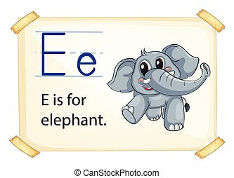 Alphabet E - Illustration of e for elephant