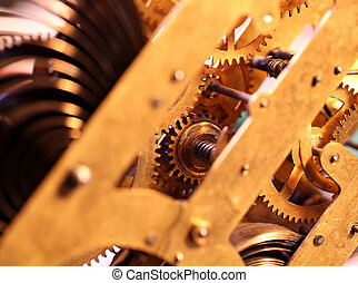 Clock mechanism - Close up of a internal clock mechanism