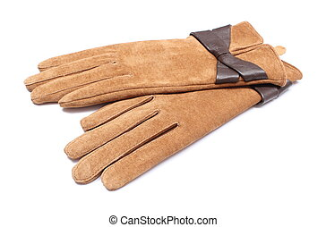 Pair of leather suede gloves for woman. White background
