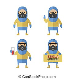 Scientist in Protective Yellow Gear Cartoon Style Vector Set...