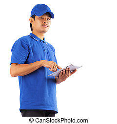 Delivery man with digital tablet
