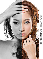 Asian beauty face - Face of beautiful Asian woman before and...