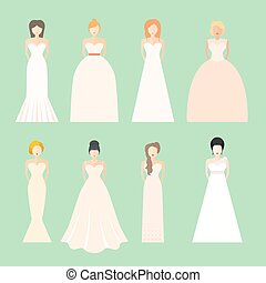 Brids In Wedding Dresses - Brides in different styles of...
