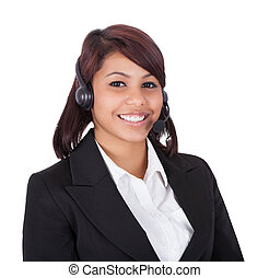 Portrait Of Happy Customer Service Representative