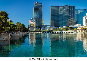 View across Bellagio lake to various hotels and casinos