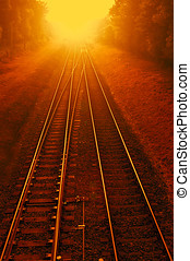 Railways on fire - photomanipulation - Photomanipulation of...