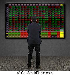 看, 商人, 屏幕, 電視