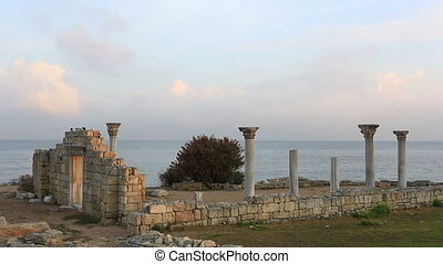 Colonnade in ruins of the Ancient Greek city of Chersonese...
