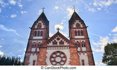 St. Lutwinus church in Mettlach, Germany, timelapse