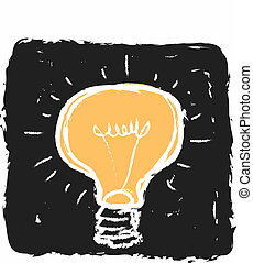 bulb doodle isolated on black