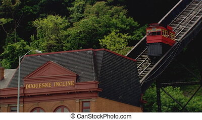 Duquesne Incline Trolley - LS of a trolley car coming into...