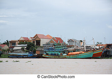 Boats in Mekong Delta - Fishing boats at the berth, Mekong...