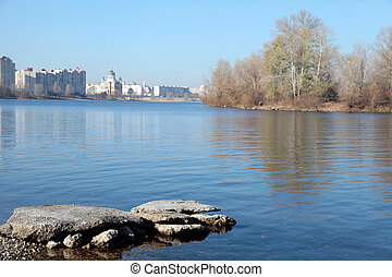 Dnieper river in Kiev - Autumn landscape with Dnieper river...