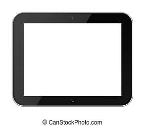 Mobile Tablet PC with Blank Screen Isolated on White Background.