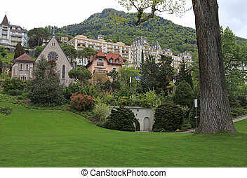 Montreux, Switzerland - Beautiful panoramic view with green...