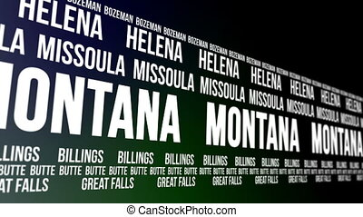 Montana State and Major Cities - Animated scrolling banner...