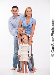 Happy family isolated on white background - Happy family of...