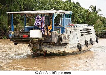 Floating house in Mekong Delta, Vietnam