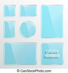 Glass plates set, square, rectangle and round in blue color....