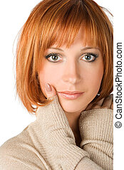 Red haired girl on white - beautiful red haired girl...