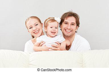 Feliz, família, mãe, pai, criança, bebê, filha, em, lar,...