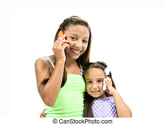 Dialogue between the girls on the phone on white background