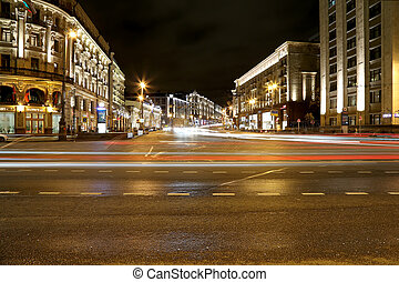 Traffic of cars in Moscow city center (Tverskaya Street near...