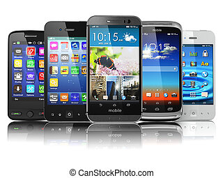 Choosing of mobile phone Different modern smartphones with...