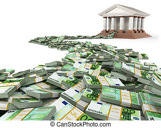 Finance concept Euro and bank building 3d
