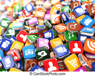 Software Smartphone or mobile phone app icons background 3d...
