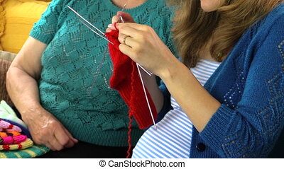 senior with granddaughter - Happy senior old woman spend...