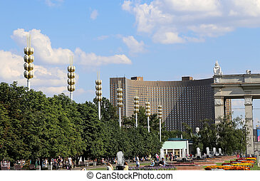 Landmarks in the territory of VDNKh All-Russia Exhibition...