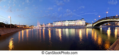 Night view panorama on the drain channel near the Luzhkov...