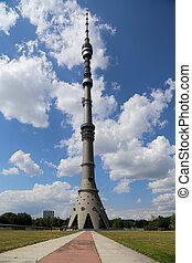 Ostankino television tower in Moscow, Russia. Standing 540.1...