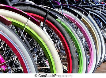 自転車, 車輪, 横列, クローズアップ, 多彩