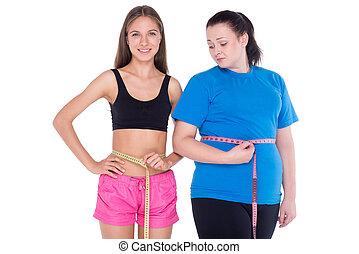 sobrepeso, mujer, y, con, bien, figura,