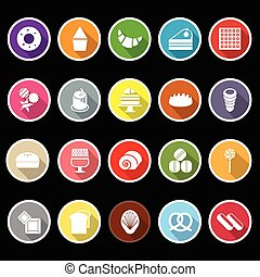 Variety bakery flat icons with long shadow, stock vector