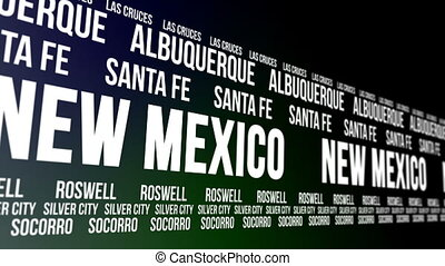 New Mexico State and Major Cities - Animated scrolling...