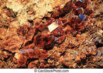 red garnet mineral background