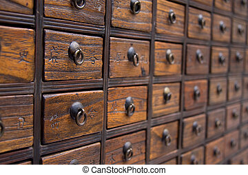 Antique Chinese Medicine Chest - An antique chest used to...