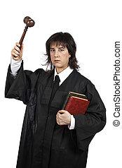 Serious female judge