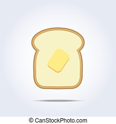 White bread toast icon with butter. Vector illustration
