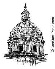 sketch drawing of old basilica from Rome - black and white...